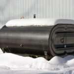 Snow on oil tank